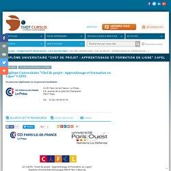 """Diplôme Universitaire """"Chef de projet - Apprentissage et Formation en Ligne"""" CAFEL"""
