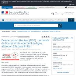Rentrée universitaire2017 -Dossier social étudiant (DSE) :demande de bourse et de logement en ligne, attention à la date limite!
