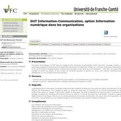 Diplôme Universitaire de Technologie spécialité information - communication option information numérique dans les organisations
