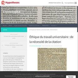 Éthique du travail universitaire : de la nécessité de la citation – Etymologika