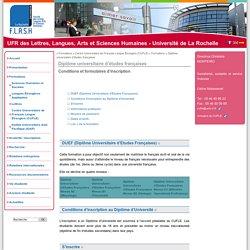 Diplôme universitaire d'études françaises - UFR des Lettres, Langues, Arts et Sciences Humaines - Université de La Rochelle