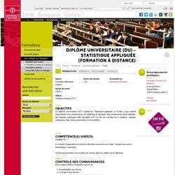 Diplôme Universitaire (DU) - Statistique appliquée (Formation à distance)