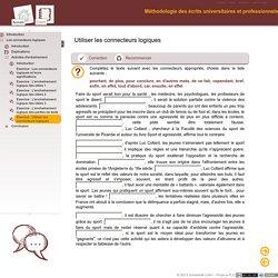 Méthodologie des écrits universitaires et professionnels - Exercice: Utiliser les connecteurs logiques