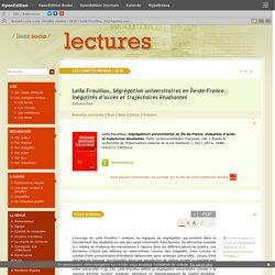 Leïla Frouillou, Ségrégation universitaires en Île-de-France. Inégalités d'accès et trajectoires étudiantes