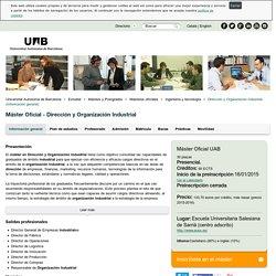 Máster Universitario Dirección y Organización Industrial