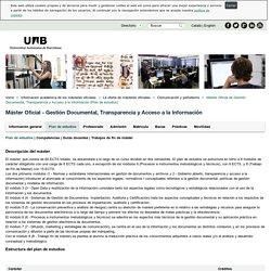 Plan de estudios: Máster Universitario Gestión Documental, Transparencia y Acceso a la Información
