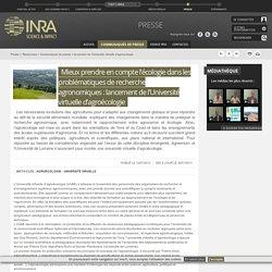 INRA 12/07/12 INRA 12/07/12 Mieux prendre en compte l'écologie dans les problématiques de recherche agronomiques : lancement de