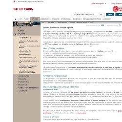 Diplôme d'Université Analyste Big Data / Autres diplômes / DIPLOMES / IUT / ParisDescartes - Universite Paris Descartes