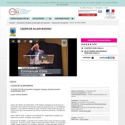 Leçon de Alain Badiou - Université d'Avignon et des pays de Vaucluse