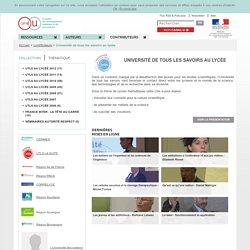 Université de tous les savoirs au lycée - Contributeurs - Canal-U