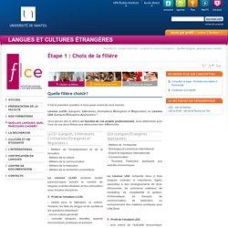 Université de Nantes - UFR Langue et Cultures Étrangères - Étape 1 : Choix de la filière