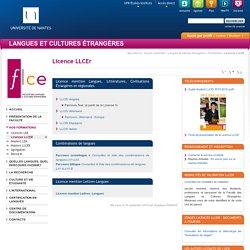Université de Nantes - UFR Langue et Cultures Étrangères - Licence LLCEr