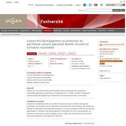 Licence Pro Développement et protection du patrimoine culturel spécialité Réalité virtuelle et formation multimédia