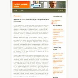 Le blog de Claude Thélot» Blog Archive » Université de masse: poids respectifs de l'enseignement et de la recherche