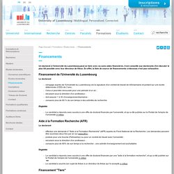 Université du Luxembourg - Financements