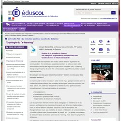 Typologie du elearning vu par éduscol 2011