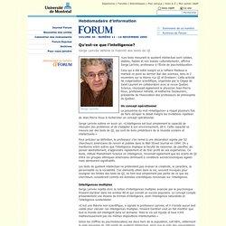 Université de Montréal - Journal Forum - 14 novembre 2005 - Qu'est-ce que l'intelligence?