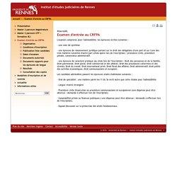 Université de Rennes 1 - Institut d'études judiciaires de Rennes - Examen d'entrée au CRFPA