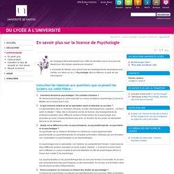 Université de Nantes - Du lycée à l'université - En savoir plus sur la licence de Psychologie