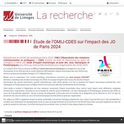 Étude de l'OMIJ-CDES sur l'impact des JO de Paris 2024 - Université de Limoges Recherche