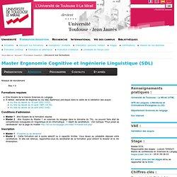 Master Ergonomie Cognitive et Ingénierie Linguistique (SDL)