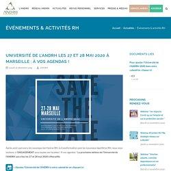 Université de l'ANDRH les 27 et 28 mai 2020 à Marseille : à vos agendas !