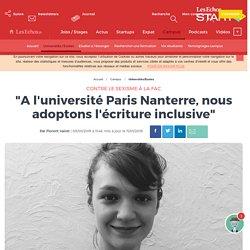 """""""A l'université Paris Nanterre, nous adoptons l'écriture inclusive"""""""