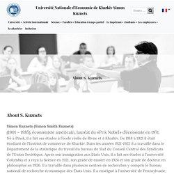 About S. Kuznets - Université Nationale d'Economie de Kharkiv Simon Kuznets