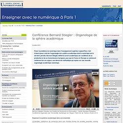 Conférence Bernard Stiegler : Organologie de la sphère académique