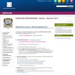 Université de Nantes - UFR Médecine - CONCOURS ORTHOPHONIE - Nantes - Rentrée 2017