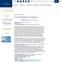 UNIVERSITE PARIS 1 PANTHEON-SORBONNE, Licence AES-Ressources Humaines