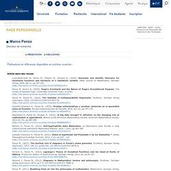 Université Paris 1 Panthéon-Sorbonne : Page personnelle deMarco Panza