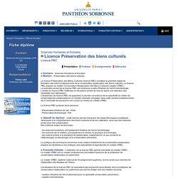 UNIVERSITE PARIS 1, Licence Préservation des biens culturels