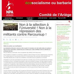 Non à la sélection à l'Université ! Non à la répression des militants contre Parcoursup !