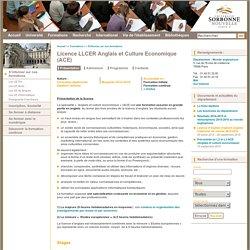 Licence LLCER Anglais et Culture Economique (ACE)