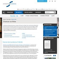 Université de Strasbourg: Financer sa thèse