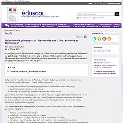 """Agenda - Université de printemps sur l'histoire des arts : """"Arts, sciences et techniques"""""""