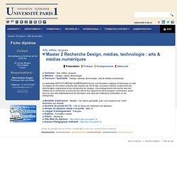Master 2 Recherche Design, médias, technologie : arts & médias numériques