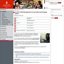 L3, M1 et M2 Management et nouvelles technologies (MNT)