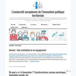 En ré-écoute – L'université européenne de l'innovation publique territoriale