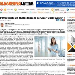 """L'Université de Thales lance le service """"Quick Apply"""" !"""