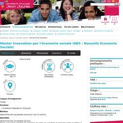 Université Toulouse - Jean Jaurès - Master Innovation par l'économie sociale (NES : Nouvelle Economie Sociale)