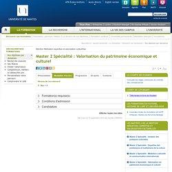 Université de Nantes - Master 2 Spécialité : Valorisation du patrimoine économique et culturel - Onglet Modalités d'accès