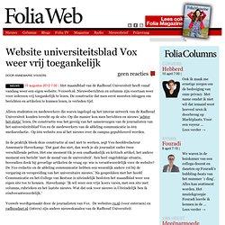 FoliaWeb: Website universiteitsblad Vox weer vrij toegankelijk
