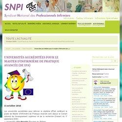 Universités accréditées pour le master d'infirmière de pratique avancée (DE IPA)