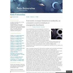 Universités: re-nouer formation et recherche, ou comment re-motiver étudiants et enseignants(-chercheurs)