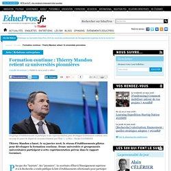 Formation continue : Thierry Mandon retient 12 universités pionnières