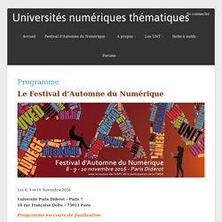 Programme – Universités numériques thématiques