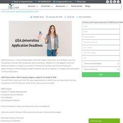 USA Universities Application Deadlines