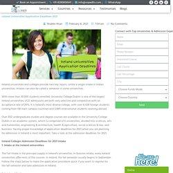 Ireland Universities Application Deadlines 2021